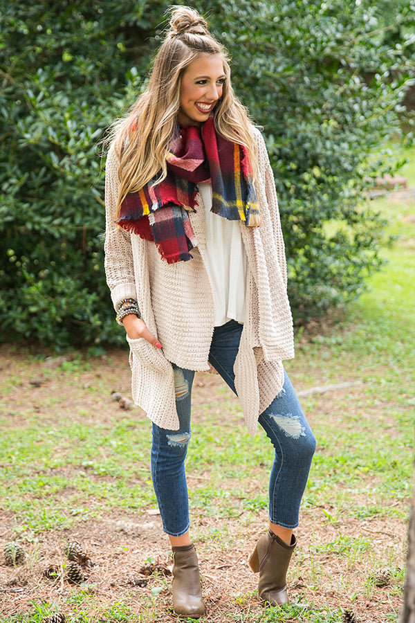 Pretty in Plaid Blanket Scarf in Red