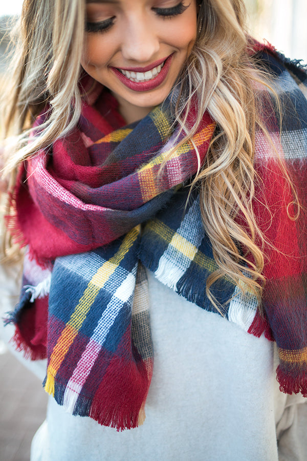 633f44e58316d Pretty in Plaid Blanket Scarf in Red • Impressions Online Boutique
