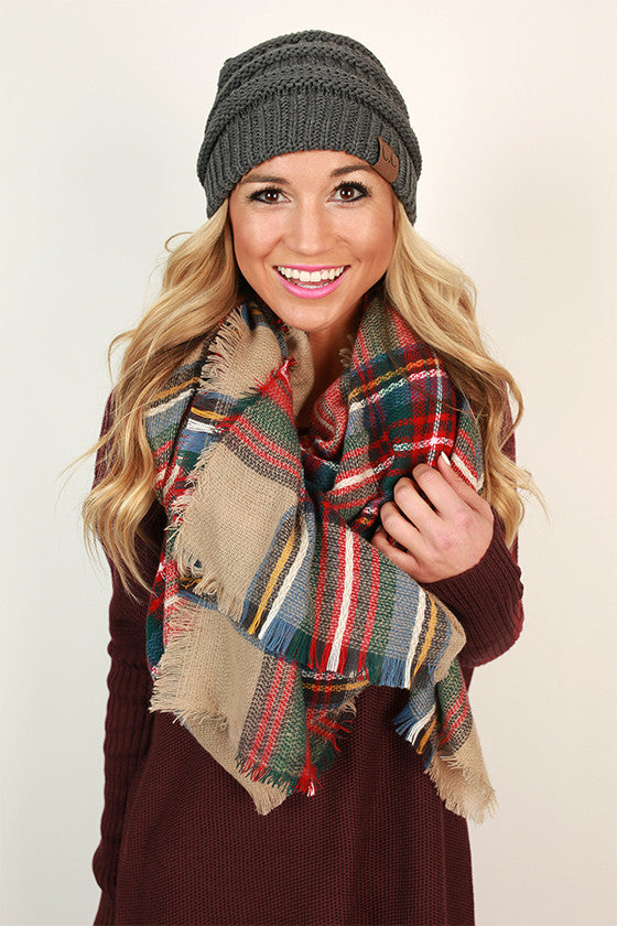 Pretty in Plaid Blanket Scarf in Oatmeal
