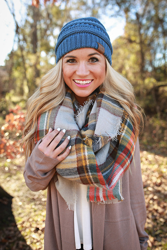 Pretty in Plaid Blanket Scarf in Grey