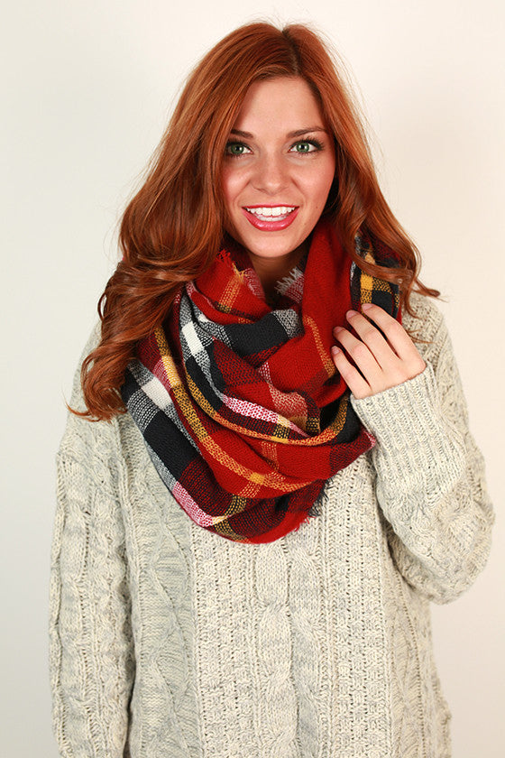 Plaid Perfection Infinity Scarf in Red