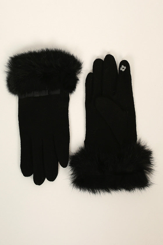 Hepburn Holiday Faux Fur Glove in Black