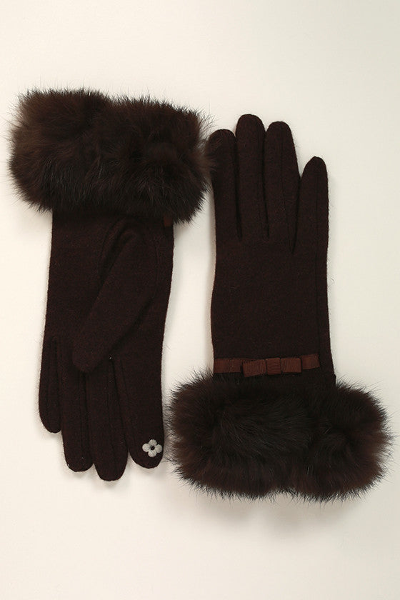 Hepburn Holiday Faux Fur Glove in Brown