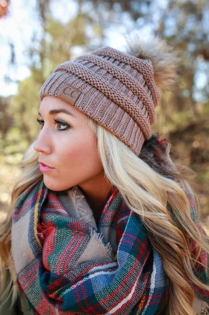 Beanie Beautiful with Faux Fur Pom in Hazelnut