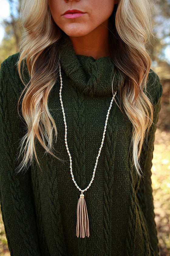 Timeless in The City Tassel Necklace in Taupe