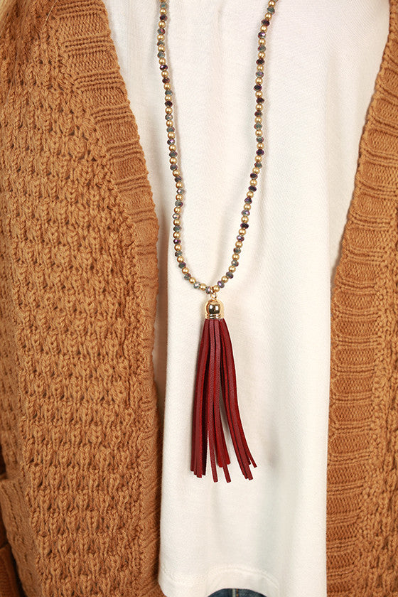 Timeless in The City Tassel Necklace in Maroon
