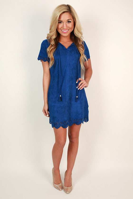 Taking Center Stage Faux Suede Shift Dress