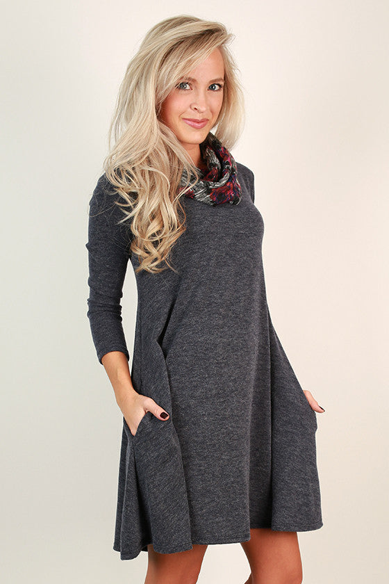Snowfall Snuggles Sweater Dress in Indigo Blue