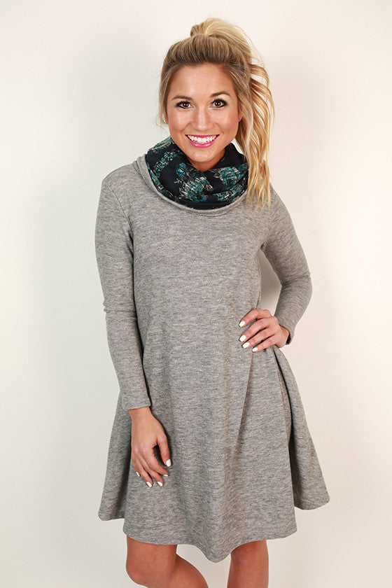 Snowfall Snuggles Sweater Dress in Grey