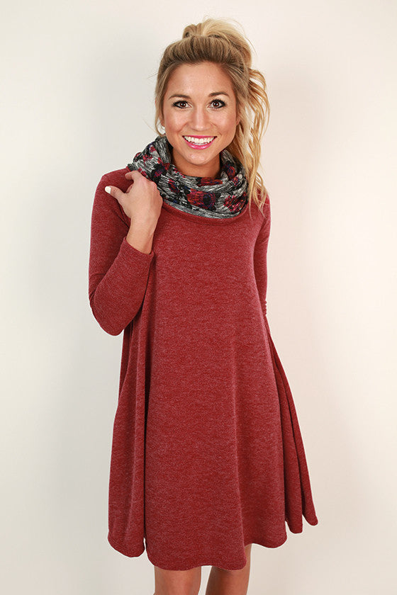 Snowfall Snuggles Sweater Dress in Crimson