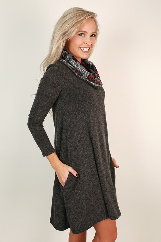 Snowfall Snuggles Sweater Dress in Charcoal