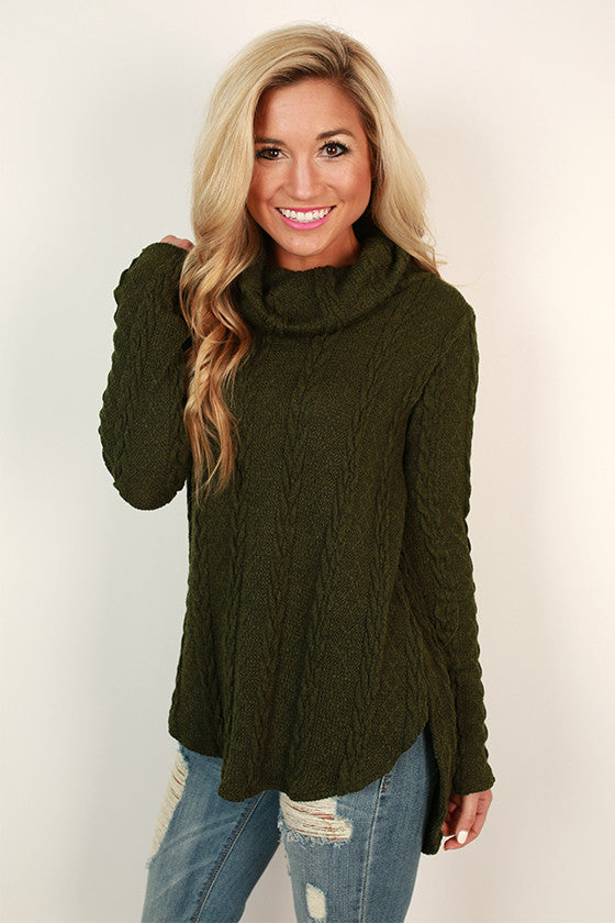Cable Knit Cutie Sweater in Olive