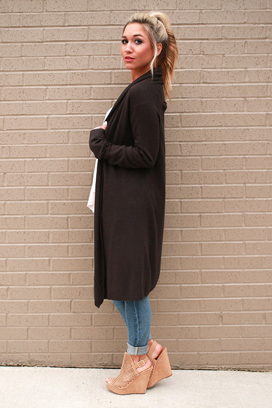 Cozy in Cashmere Cardigan in Charcoal