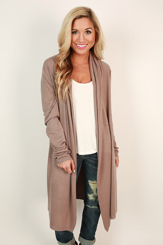 Cozy in Cashmere Cardigan in Taupe