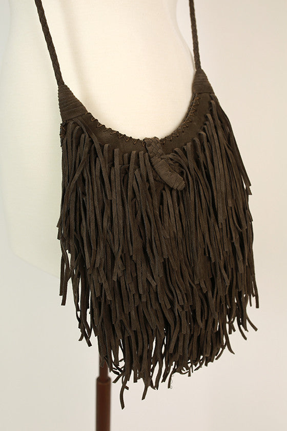Fringe Vibes Crossbody Bag in Deep Forest