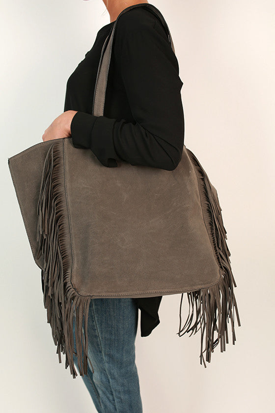 Merlot in Manhattan Fringe Tote in Dark Grey