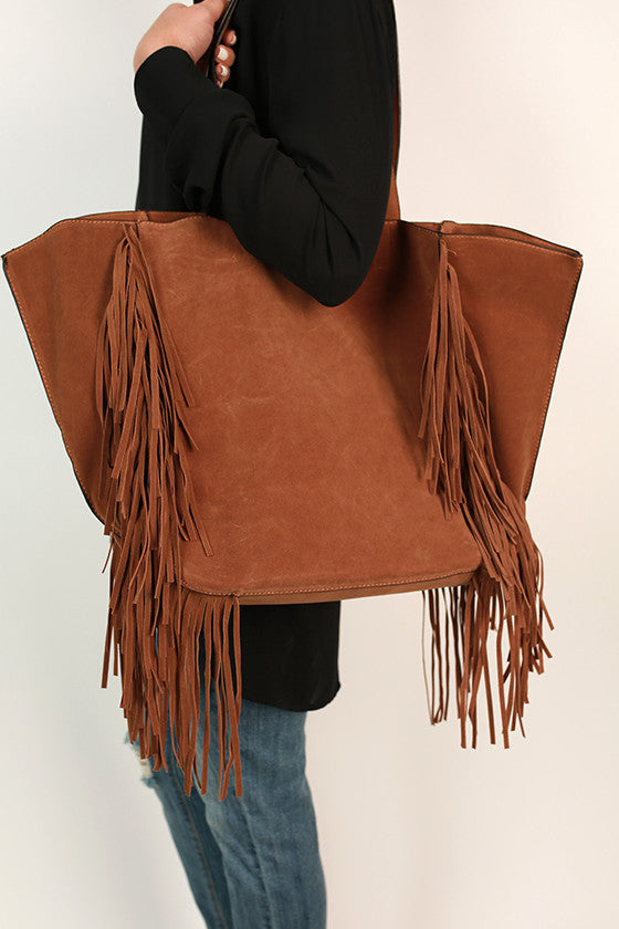 Merlot in Manhattan Fringe Tote in Copper