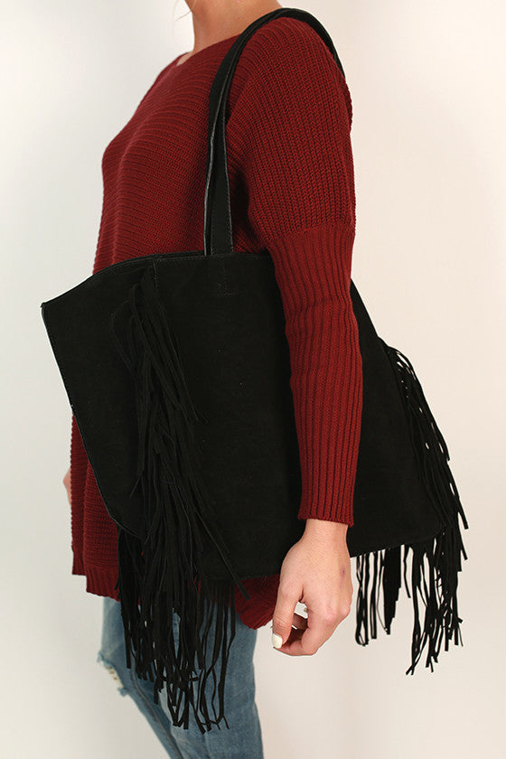 Merlot in Manhattan Fringe Tote in Black