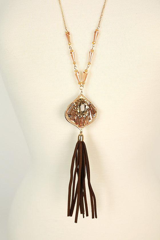 The Fashion Diaries Tassel Necklace in Brown