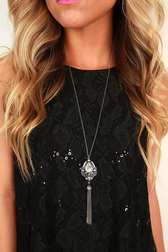 Work Hard Sparkle Hard Tassel Necklace in Silver
