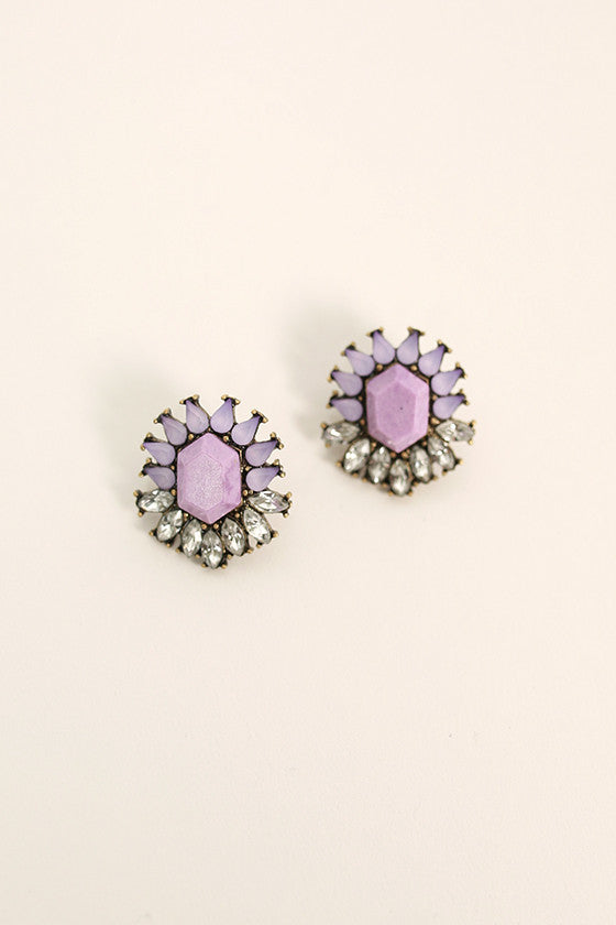 Sweet Sparkles Semi Precious Stud Earrings in Lavender