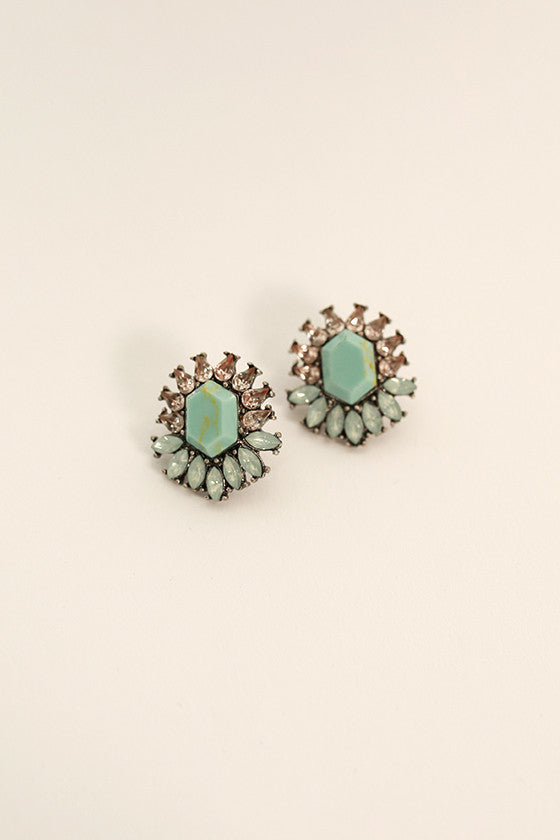 Sweet Sparkles Semi Precious Stud Earrings in Light Aqua