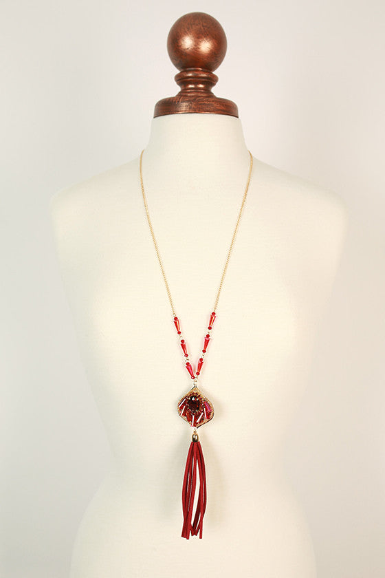 The Fashion Diaries Tassel Necklace in Crimson