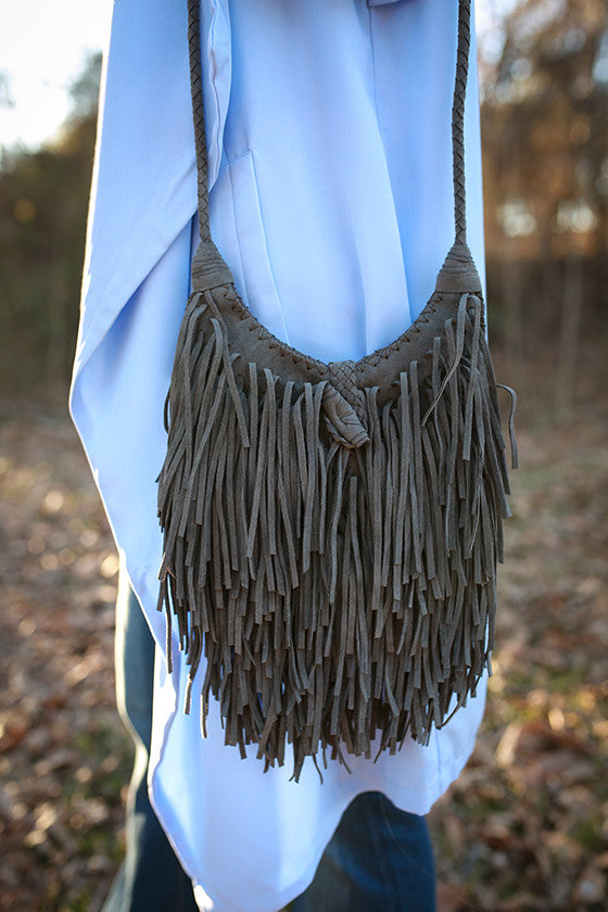 Fringe Vibes Crossbody Bag in Dark Grey