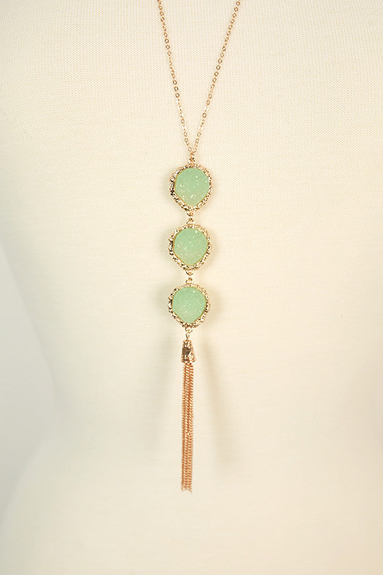 Feeling Blessed Quartz Necklace in Aqua