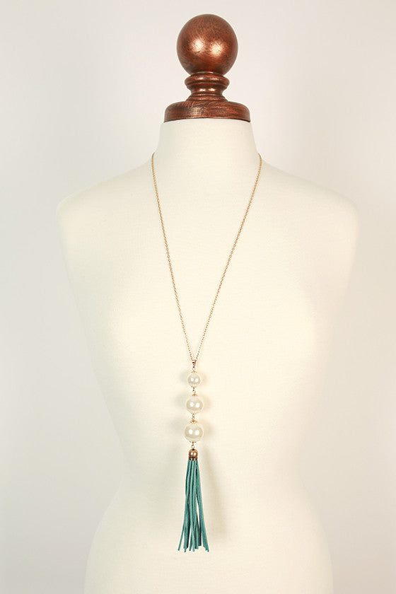 Pretty in Pearls Tassel Necklace in Aqua
