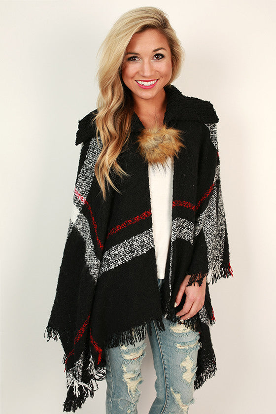Cozy on Repeat Poncho in Black