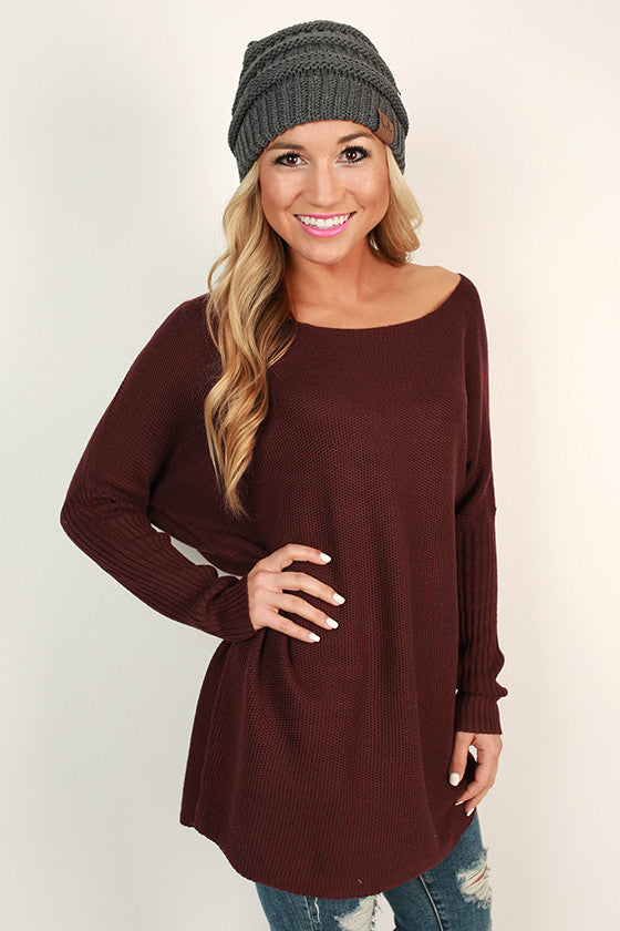 Weekend At The Cabin Tunic Sweater in Windsor Wine