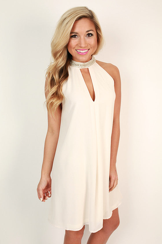 Sparkle For Days Shift Dress in Ivory