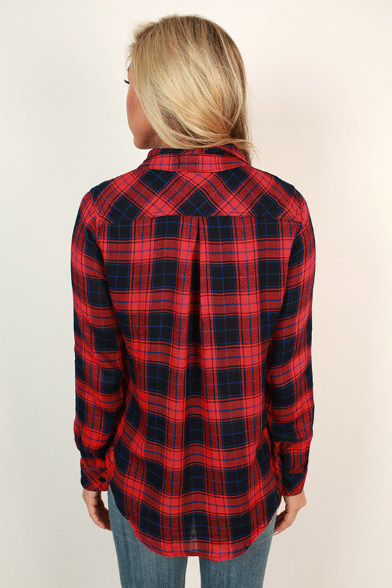 Festive Feelings Plaid Button Up Top