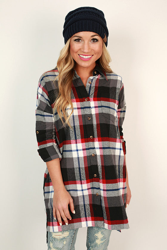 Winterberry Flannel Button up Tunic