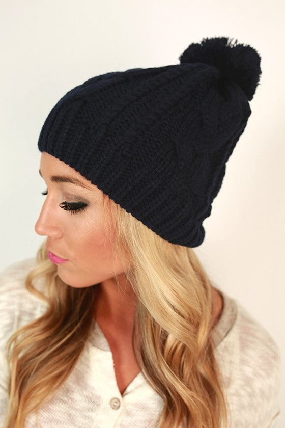 Cable Knit Cutie Pom Beanie in Navy