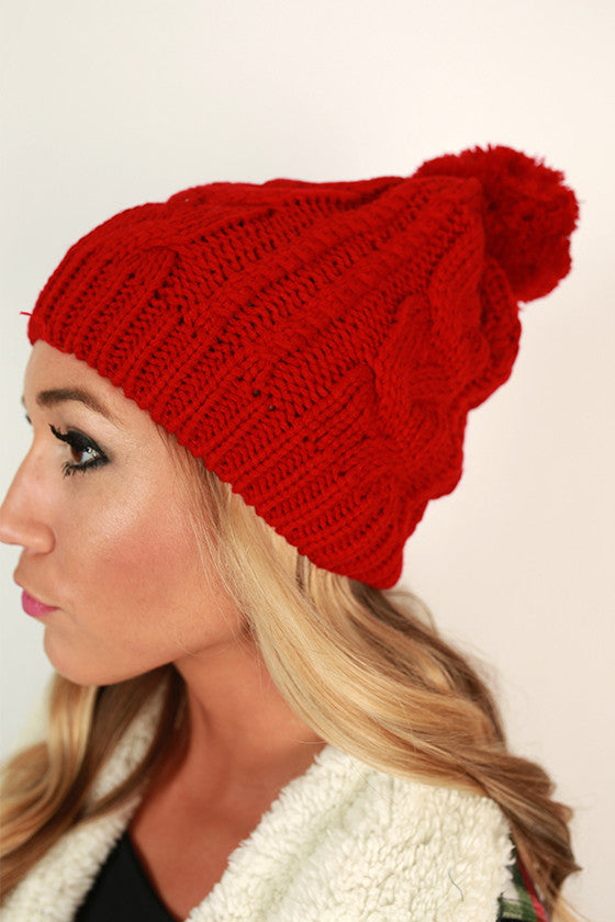 Cable Knit Cutie Pom Beanie in Red