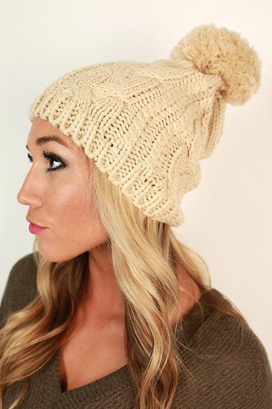 Cable Knit Cutie Pom Beanie in Beige