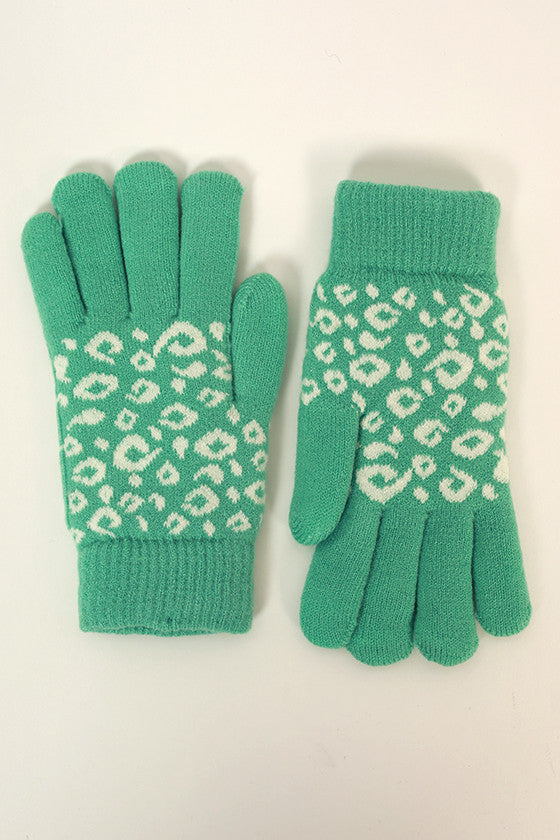 Cheetah Cutie Gloves in Ocean Wave