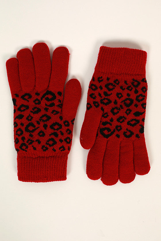 Cheetah Cutie Gloves in Crimson