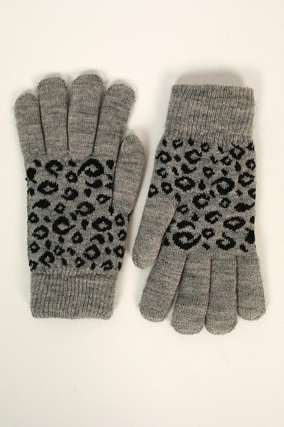 Cheetah Cutie Gloves in Grey