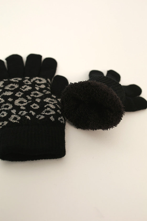 Cheetah Cutie Gloves in Black
