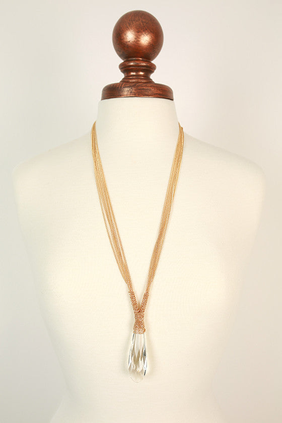 Original Beauty Crystal Necklace in Gold