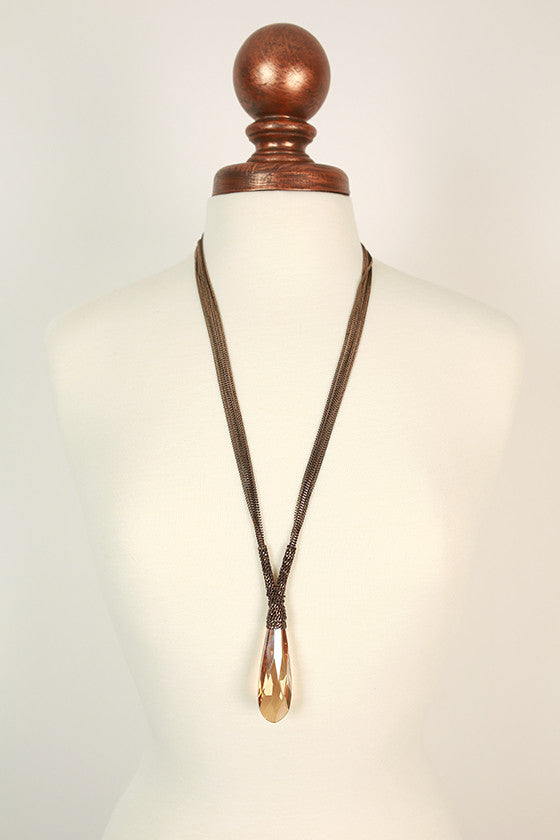 Original Beauty Crystal Necklace in Bronze