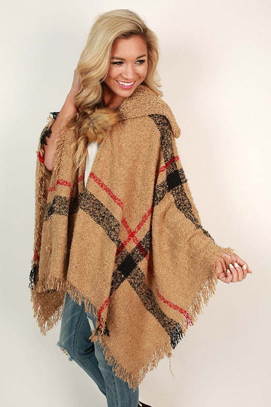 Cozy on Repeat Poncho in Tan