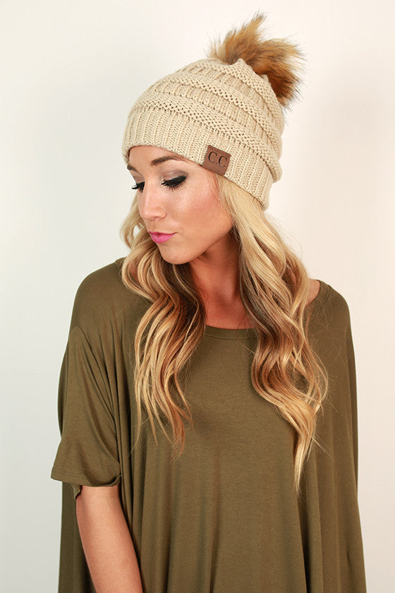 Beanie Beautiful with Faux Fur Pom in Stone