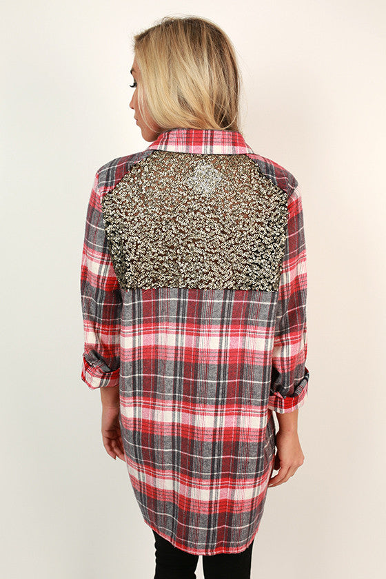 Fireside Sparkles Flannel Button Up