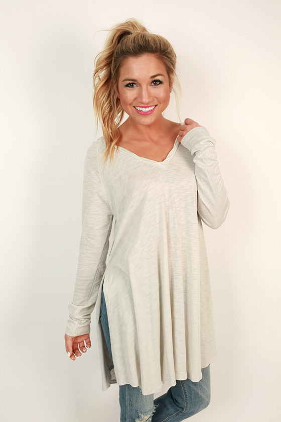 Chic on Repeat V-Neck Hoodie in Light Stone