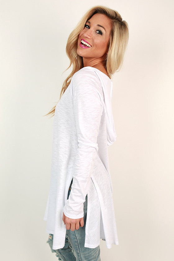 Chic on Repeat V-Neck Hoodie in White