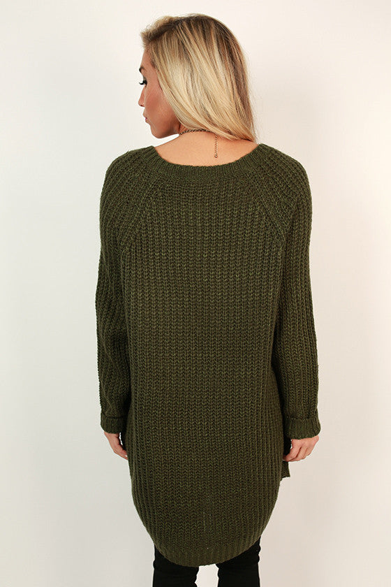 Chic Cuddles Tunic Sweater in Army Green